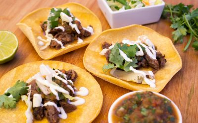 Chili Beef Tacos with Roasted Salsa